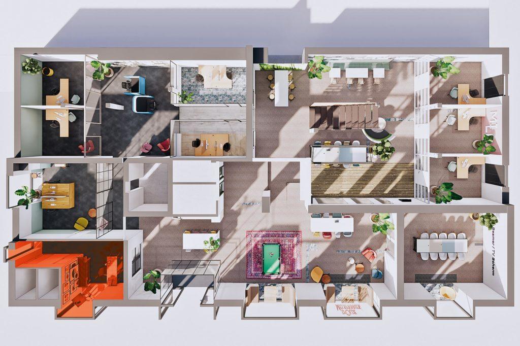 Terwolde d'Olde Melkfabriek Kantoor 9 Atelier Werkplek Kantoor Flexplek Huren Kantoorruimte Plattegrond